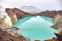Crater of the volcano Ijen. View from above stock images