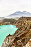 Crater of the volcano Ijen. View from above stock photos
