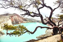 Crater of the volcano Ijen. View from above stock photo