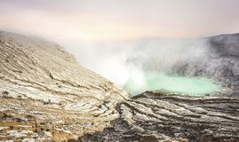 Crater of volcano Ijen Royalty Free Stock Photography