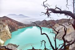 Crater of the volcano Ijen. View from above stock image