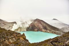 Crater of the volcano Ijen. View from above royalty free stock photography