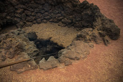 Crater of volcano at Lanzarote Stock Photography