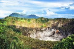 Crater of Volcano Mahawu near Tomohon. North Sulawesi. Indonesia royalty free stock photo