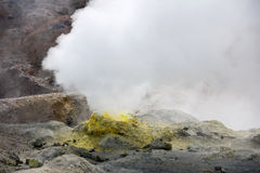 Crater of the volcano Mutnovskiy Royalty Free Stock Photography
