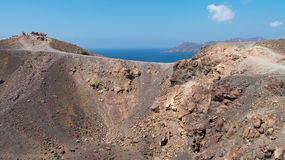 Crater of volcano Nea Kameni in Santorini Stock Image