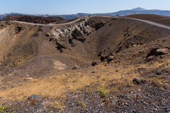 Crater of the volcano of Santorini Island Stock Photos
