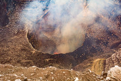 Crater of the Volcano. The very active volcano in the city of Masaya, Nicaragua Royalty Free Stock Photo