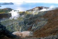 Crater Vulcano. Sea view over crater Vulcano on Vulcano island Stock Photo
