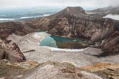 Cratera do vulcão de Gorely, Kamchatka, Rússia Imagens de Stock