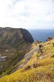 Cratera dramática perto de Orongo, console do vulcão de Easter Fotografia de Stock Royalty Free