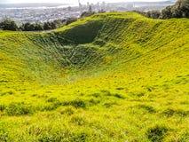 Cratera inativa do vulcão, montagem Eden, Auckland, Nova Zelândia fotografia de stock royalty free