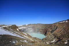 Cratera, parte do vulcão de Aso San Fotografia de Stock Royalty Free