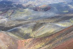 Cratera Silvestri Superiori em Monte Etna, Sicília, Itália foto de stock