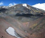 Crateras laterais do flanco do sul de Monte Etna Foto de Stock