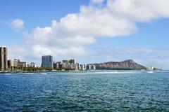 Cratere capo e Waikiki del diamante a Honolulu Hawai Fotografie Stock Libere da Diritti
