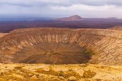 cratere del vulcano in Timanfaya, isola di Lanzarote Immagini Stock Libere da Diritti