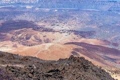 Cratere della lava in Park Canadas del Teide Fotografie Stock