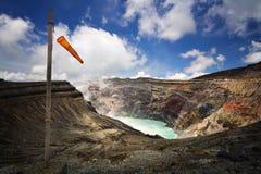 Cratere di Naka, vulcano di Aso San, Kyushu, Giappone Fotografia Stock Libera da Diritti