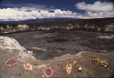 Cratere vulcanico hawaiano Fotografie Stock
