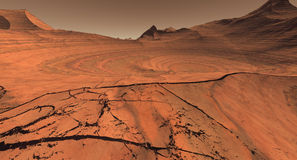 Cratered Mars Landscape. Fractured Mars terrain with partially revealed crater Stock Images