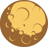 Craters. Vector cartoon planet with craters Royalty Free Stock Photography