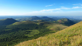 Craters. Landscape of the chain of volcanoes of Auvergne Stock Photography