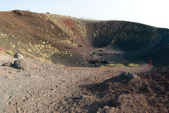 Craters Silvestri of the Etna. Tourists on the border of craters Silvestri of the Etna in Sicilia stock photos