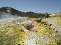Craters of the volcano Etna. Sulfur deposits on the edge of the summit craters of the volcano Etna Stock Photography