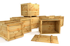 Crates. Wooden crates  on white  background Stock Photo