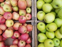 Crates of apples directly above royalty free stock photography
