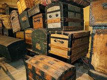 Crates and baggage Ellis Island Immigration museum. Exhibit of Crates and other baggage brought over by immigrants landing at Ellis Island New York, the gateway Royalty Free Stock Photography