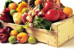 Crates of fruit and vegetables. On white background in studio Royalty Free Stock Photos
