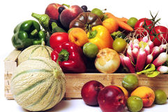 Crates of fruit and vegetables Stock Images