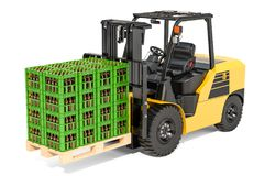 Crates full of beer bottles on the forklift truck, 3D rendering. Isolated on white background Royalty Free Stock Images