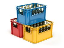 Crates full of beer bottles isolated on white background. 3d illustration Royalty Free Stock Images