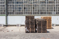 Crates outside factory in industrial setting Royalty Free Stock Photo