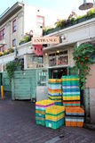Crates outside of a restaurant in Pike Place Stock Photo