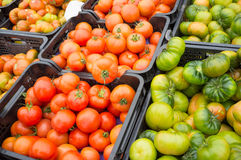 Crates of tomatoes Stock Photos