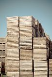 Crates vertical stacks Royalty Free Stock Images