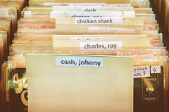 Crates with vinyl turntable records on a flee market Royalty Free Stock Photography