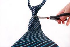 Cravat being cut. Elegant cravat being cut with scissors Stock Images