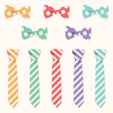 Cravates et ensemble de vecteur de Bowties Images stock