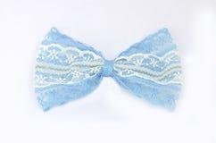 Cravatta a farfalla blu del pizzo Fotografia Stock Libera da Diritti
