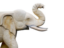 Craved sandstone elephant isolate on white background used for d Stock Image