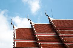 Craved top Thai temple roof Royalty Free Stock Photography