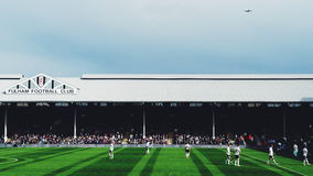 Craven Cottage Fulham vs QPR featuring an aeroplane Royalty Free Stock Image