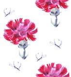 Cravo-da-índia cor-de-rosa da aquarela com borboleta Teste padrão sem emenda para o projeto em um fundo branco Foto de Stock Royalty Free