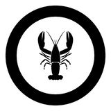 Craw fish icon black color in circle. Vector illustration isolated Royalty Free Stock Image