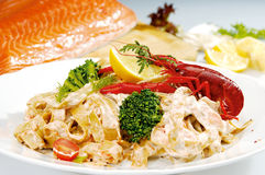 Craw fish on the top of pasta Royalty Free Stock Photos